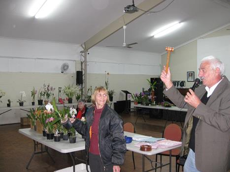 President auctioning plants to the members